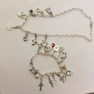 Claire's Christmas Charm Bracelet and Necklace Set